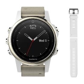 GARMIN/佳明 Fenix 5S 手表蓝宝石镜面皮表带版(白色硅胶表带+皮表带) 010-01685-23